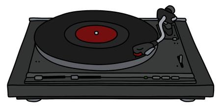 Le dessin à la main vectorisé d'un tourne-disque analogique noir moderne