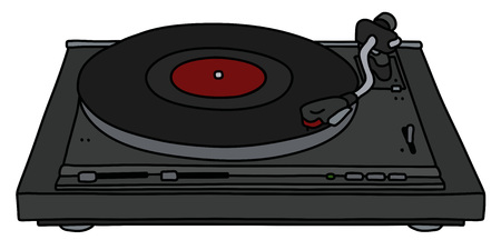 The vectorized hand drawing of a modern black analog turntable