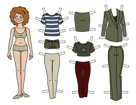 The redhead paper doll with cutout clothes