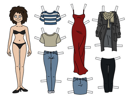 The brunette paper doll with cutout clothes