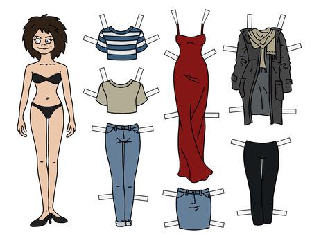 The brunette paper doll with cutout clothes Ilustração