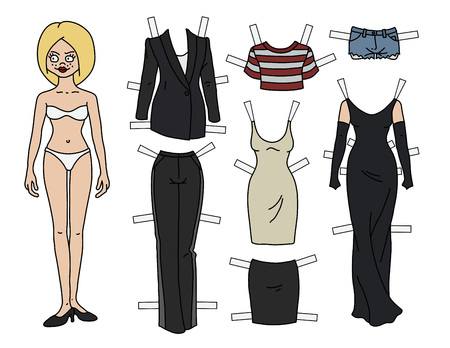 The blonde paper doll with cutout clothes Stockfoto - 103618677