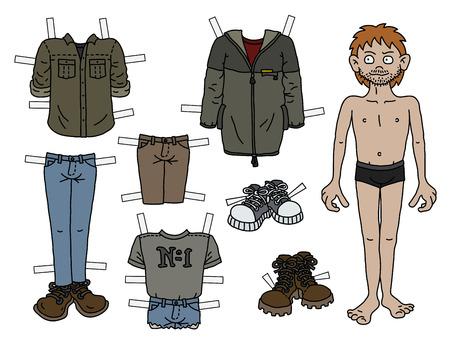 Papierowa lalka zabawny chłopiec z ubraniami wycinanymi