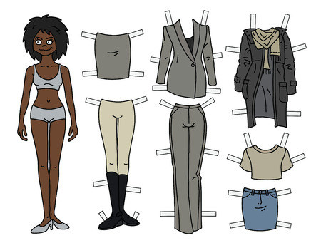 The afroamerican paper doll with cutout clothes