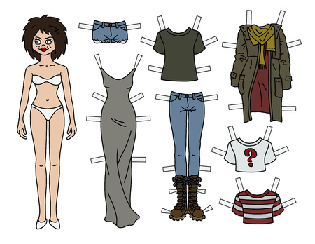 The brunette paper doll with cutout clothes Иллюстрация