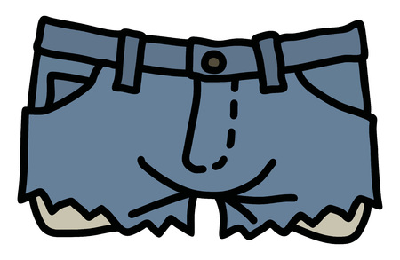 The vectorized hand drawing of a funny blue jeans shorts  イラスト・ベクター素材