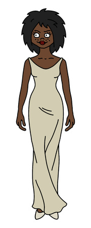 The vectorized hand drawing of a funny afroamerican woman in a cream long dress Vecteurs