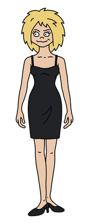 The vectorized hand drawing of a funny blonde woman in a black dress Standard-Bild - 111614256