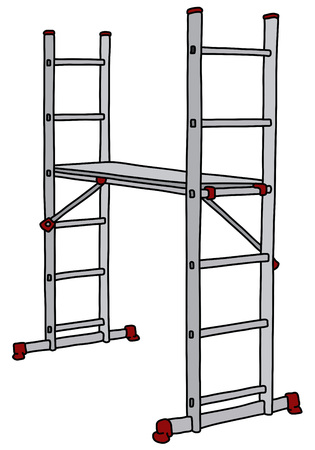 The vectorized hand drawing of a steel small scaffolding