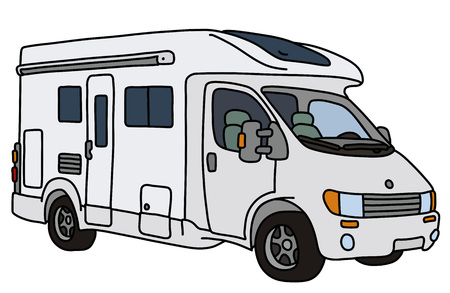 The vectorized hand drawing of a white caravan Ilustração