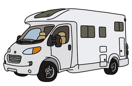 The vectorized hand drawing of a white caravan Stock Illustratie