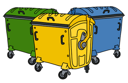 The vectorized hand drawing of three recycling containers