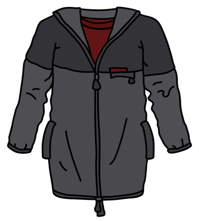 The vectorized hand drawing of a dark khaki sport jacket