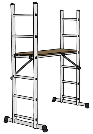 The vectorized hand drawing of a white metal small scaffolding