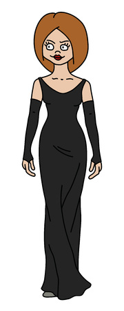 The vectorized hand drawing of a funny redhead woman in a black long dress