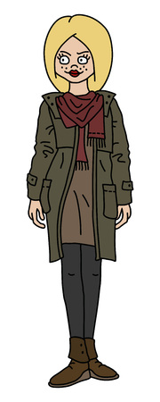 The funny blonde woman in a khaki coat