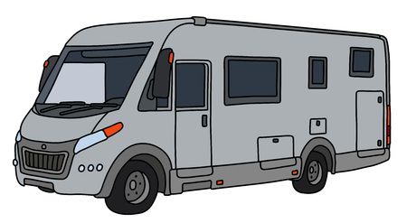 The vectorized hand drawing of a modern silver large motor home