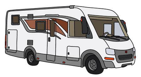 Le dessin à la main vectorisé d'un grand camping-car moderne Vecteurs