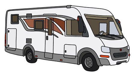 The vectorized hand drawing of a modern large motor home