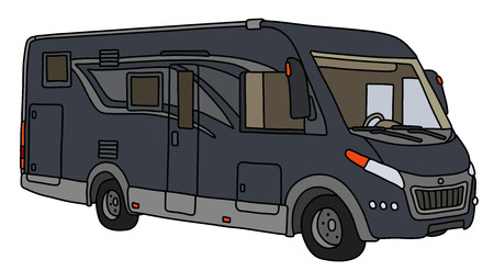 The vectorized hand drawing of a modern dark large motor home