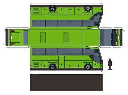 Das einfache Vektorpapiermodell eines grünen touristischen Busses Vektorgrafik