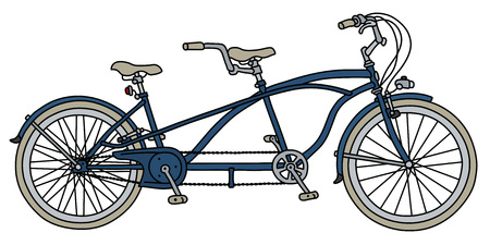 The vectorized hand drawing of a blue tandem bicycle Vetores