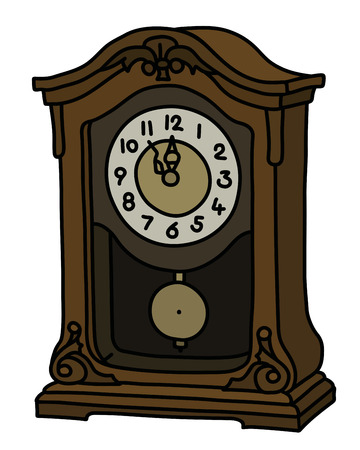 The vectorized hand drawing of a retro desktop pendulum clock
