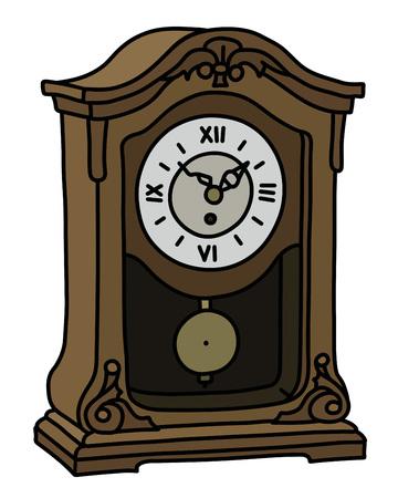 The vectorized hand drawing of a retro desktop pendulum clock