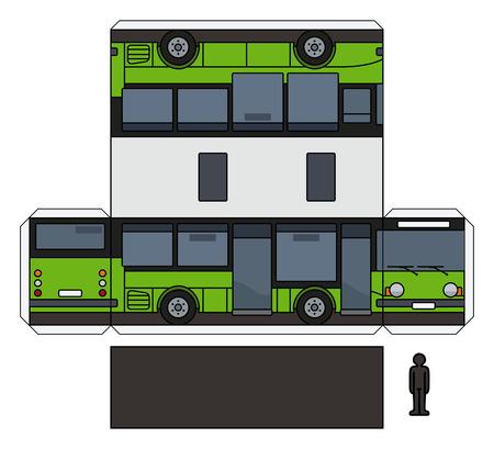 El modelo de papel de vector simple de un pequeño autobús negro y verde