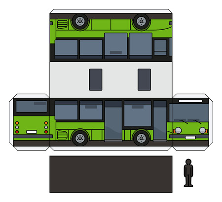 The simple vector paper model of a black and green small bus