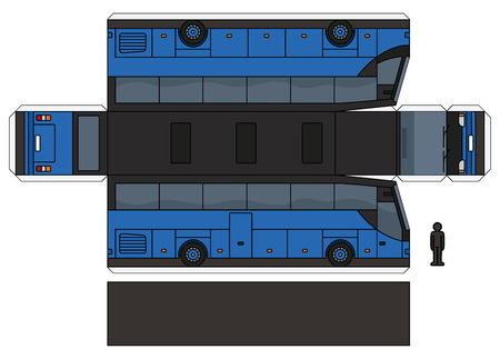 The simple vector paper model of a blue touristic bus