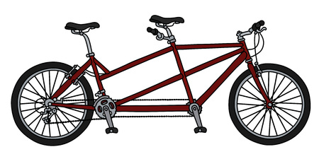 The vectorized hand drawing of a red tandem bicycle