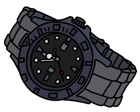 The vectorized hand drawing of a sports waterproof scrap watch