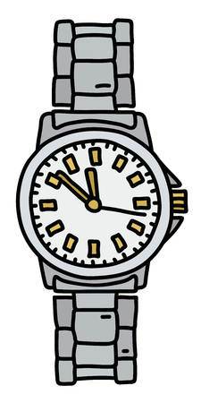 The hand drawing of a sports waterproof wristwatch