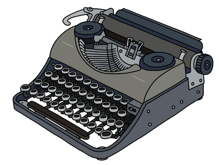 The vectorized hand drawing of a vintage portable typewriter Banque d'images - 110896833