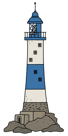 The vectorized hand drawing of a funny old blue and white stone lighthouse