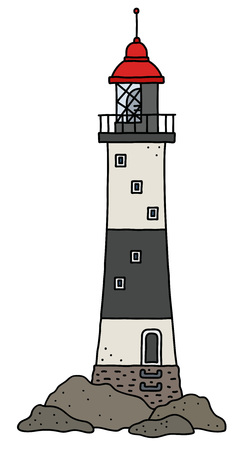 The funny old black and white stone lighthouse