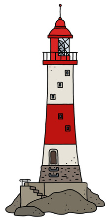 The vectorized hand drawing of a funny old red and white stone lighthouse Illustration