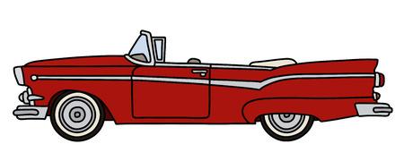 Le dessin à la main vectorisé d'un drôle de vieux cabriolet américain rouge