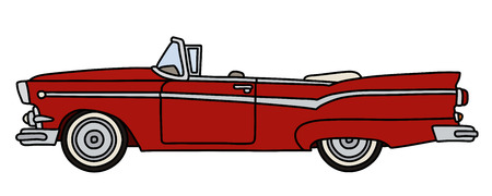 The vectorized hand drawing of a funny old red american convertible