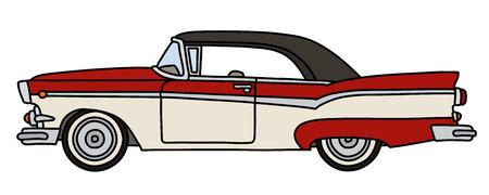Le dessin à la main vectorisé d'une vieille voiture américaine rouge et blanche drôle
