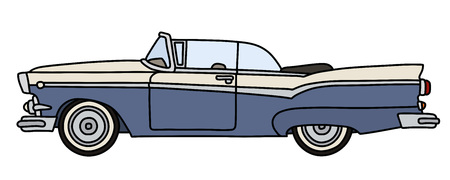 The vectorized hand drawing of a funny old blue american convertible