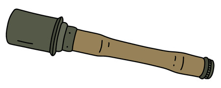The old German hand grenade with a wooden handle Illustration
