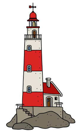 The vectorized hand drawing of a funny old red and white stone lighthouse Ilustração