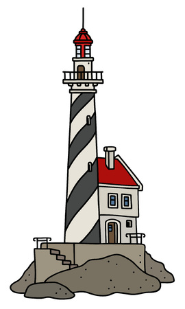 The vectorized hand drawing of a funny old black and white stone lighthouse