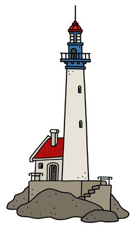 The vectorized hand drawing of a funny old stone lighthouse