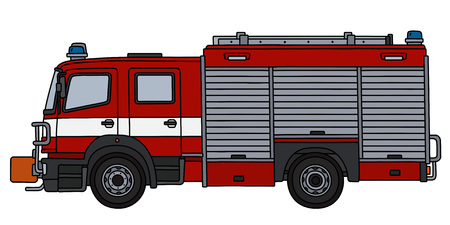 The hand drawing of a red fire truck