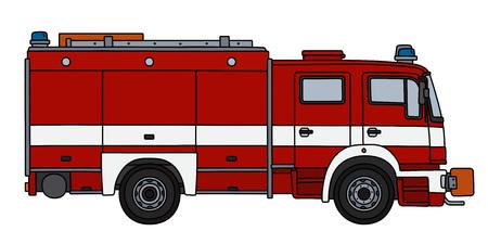 El dibujo de un camión de bomberos rojo a mano