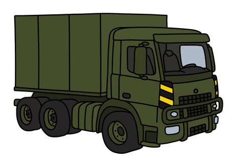 The vectorized hand drawing of a khaki military truck Illustration