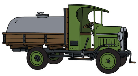 The vectorized hand drawing of a vintage tank truck